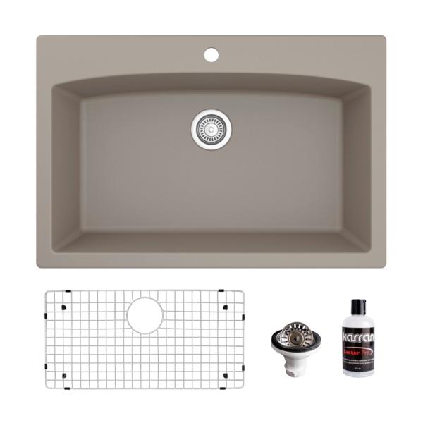 Karran Usa Qt 712 Drop In Quartz Composite 33 Inch Single Bowl Kitchen Sink Kit In Concrete